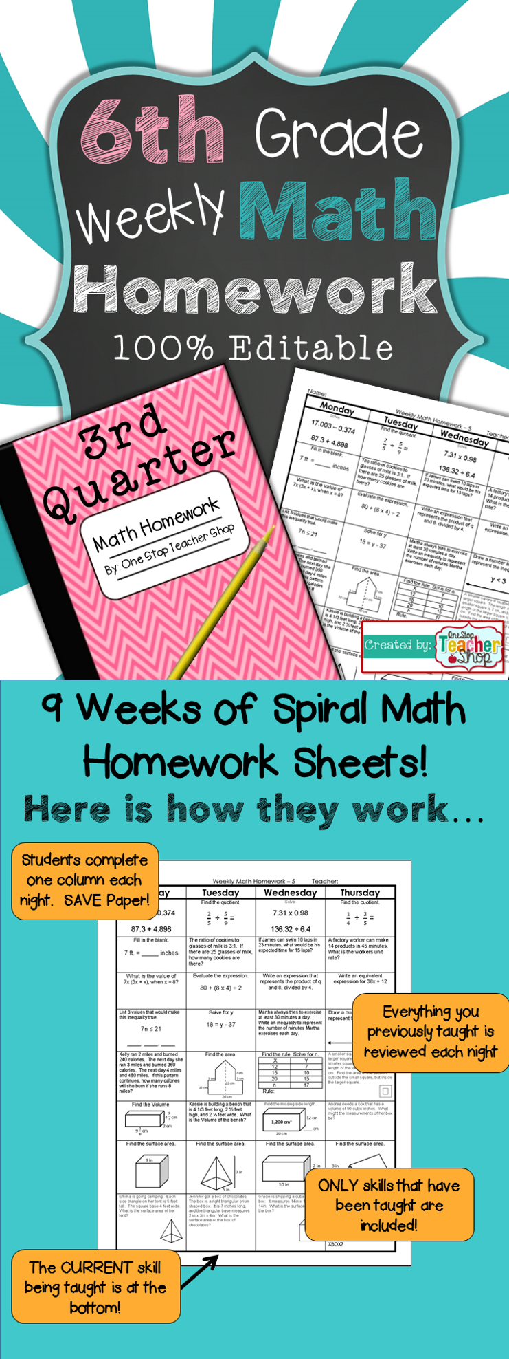 6th Grade Math Review | Homework or Warm Ups | 3rd Quarter | Common ...