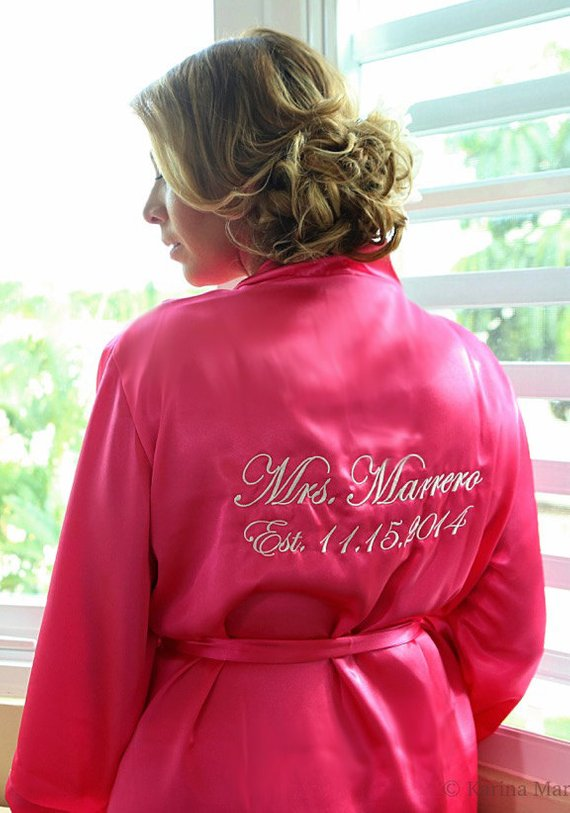 78c412a6a2 Personalized Satin Robes with Personalization on Back