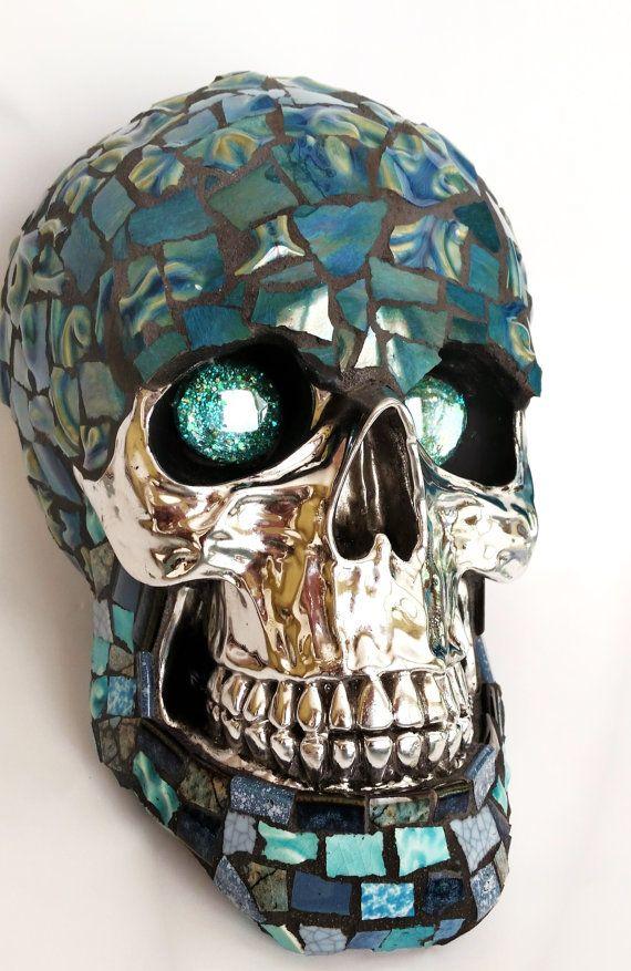 Mosaic Art Blue Eyes Skull Chrome Face One Of A Kind