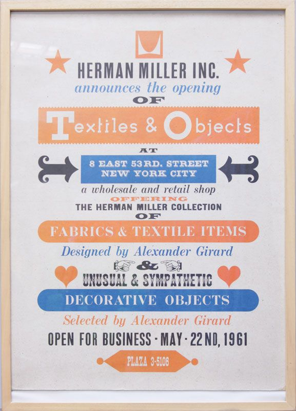 Alexander Girard's poster for Herman Miller's Tiles & Objects showroom ● 8 East 53rd Street, NYC (May 22, 1961)