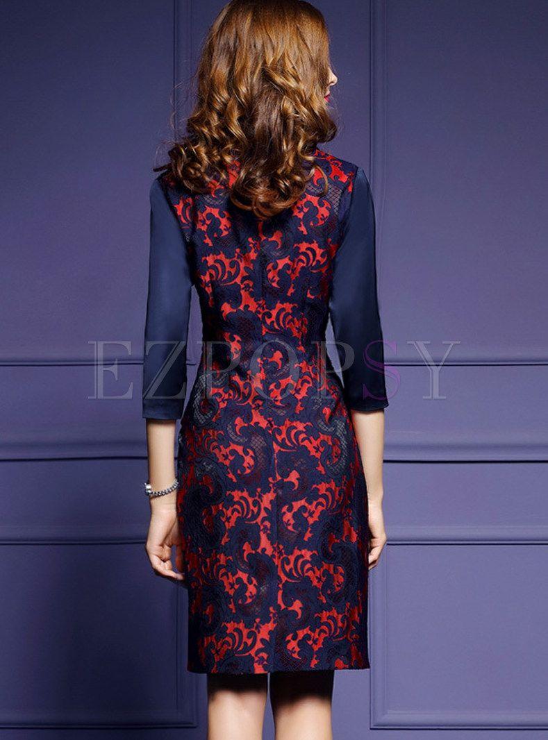 Vintage V Neck Three Quarters Sleeve Bodycon Dress Bodycon Dress Bodycon Dress With Sleeves Dresses [ 1066 x 789 Pixel ]