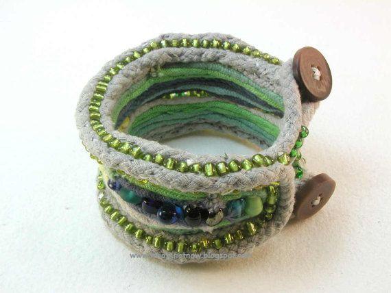 blue and green beaded fiber cuff bracelet by WhatKnotShop on Etsy