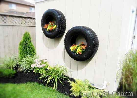 jardineras realizadas con neumaticos usados