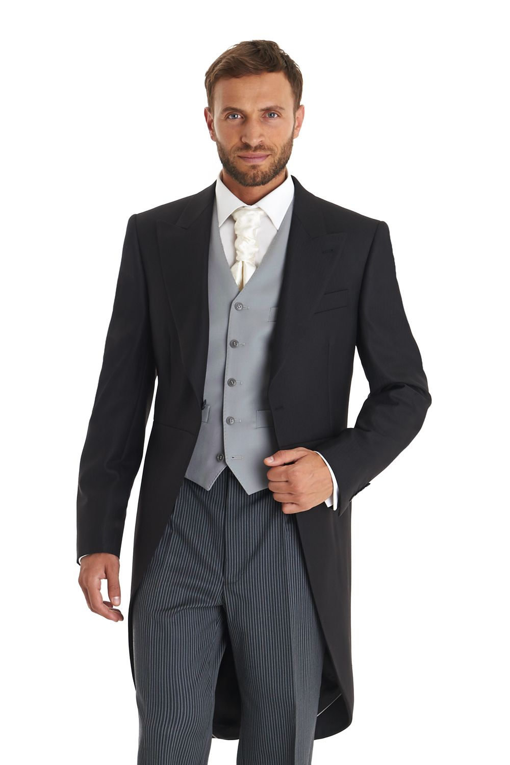 This Men S Moss Bros Black Fine Herringbone Regular Fit One On Morningwear Coat With Peak Lapels Is Made From 100 Wool And Perfect For A Wedding Or