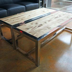 Natural Wood And Chrome Coffee Table