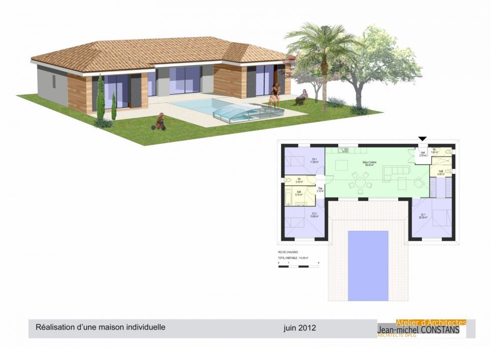 Modele maison ossature bois plain pied ps61 jornalagora for Plan maison contemporaine en u