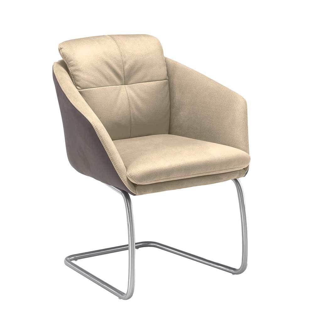 Freischwinger Sessel in Braun Beige Microfaser Jetzt bestellen unter ...