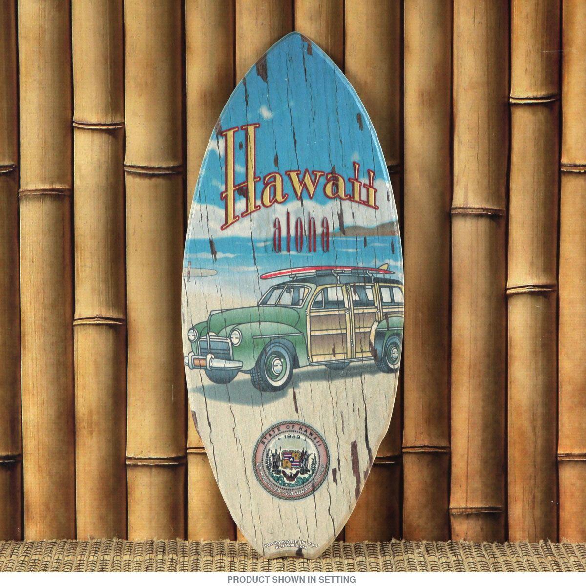 hawaii state seal vintage woody mini surfboard surfboards tiki hawaii state seal vintage woody mini surfboard