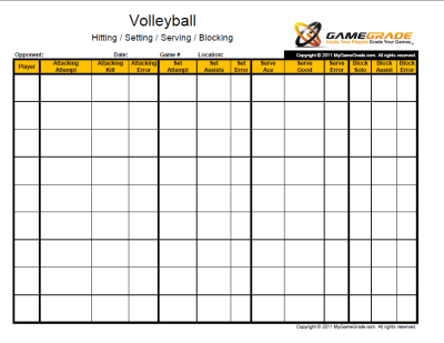 photo regarding Printable Golf Stat Sheet referred to as Pin upon Volleyball/Teaching