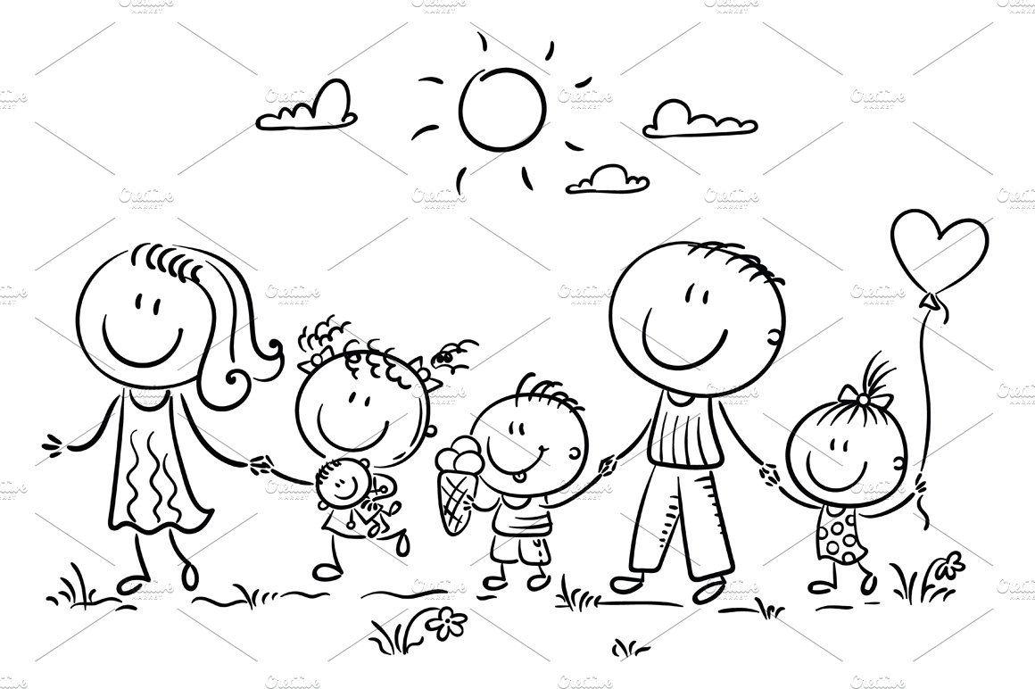 Family With Three Children Walking 2020 Boyama Kitaplari Cizimler Cizim