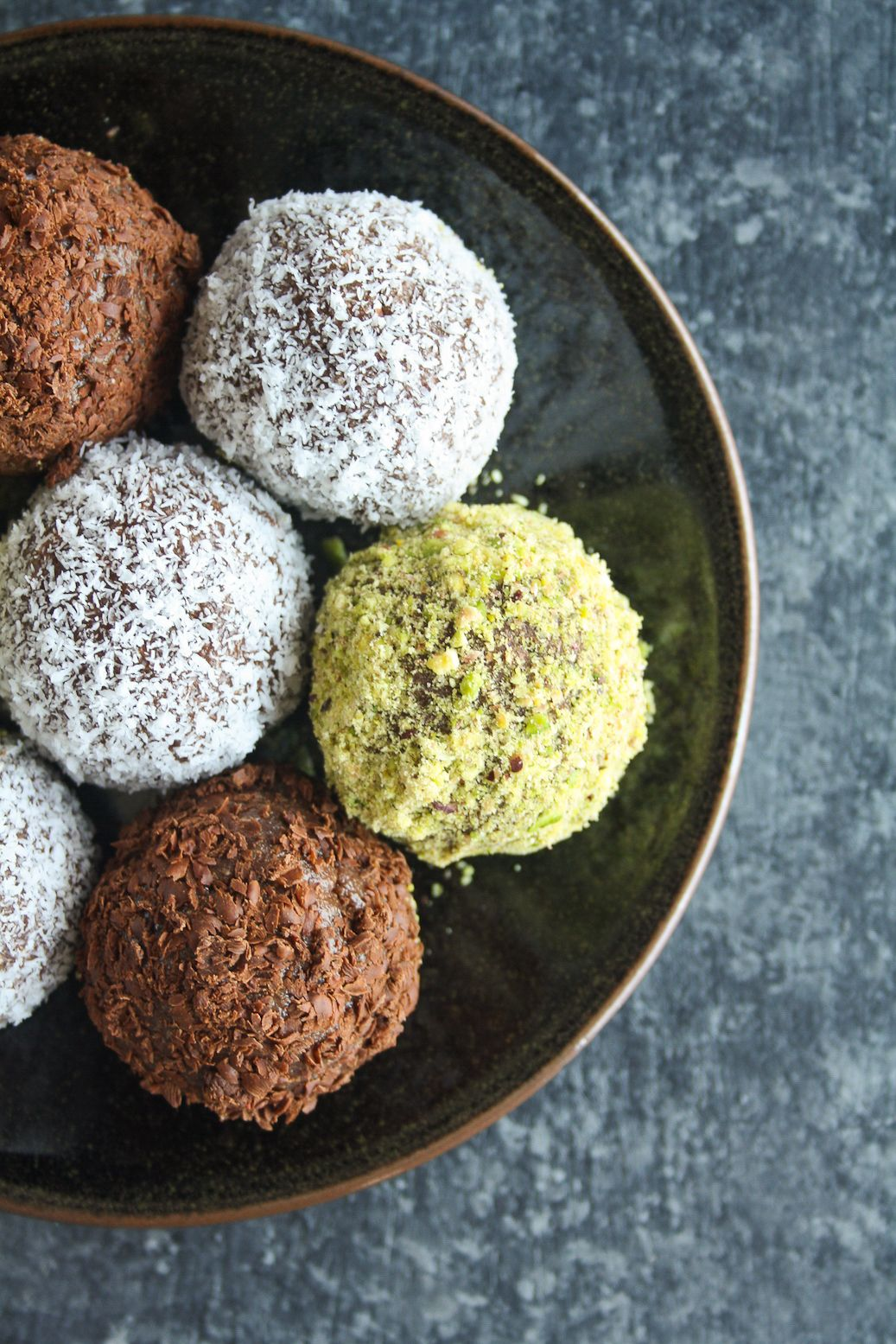 Super Quick Chocolate Truffles Made With Marie Biscuits Rolled In Pistachios Coconut And Chocolate Marie Biscuit Truffles Chocolate Truffles