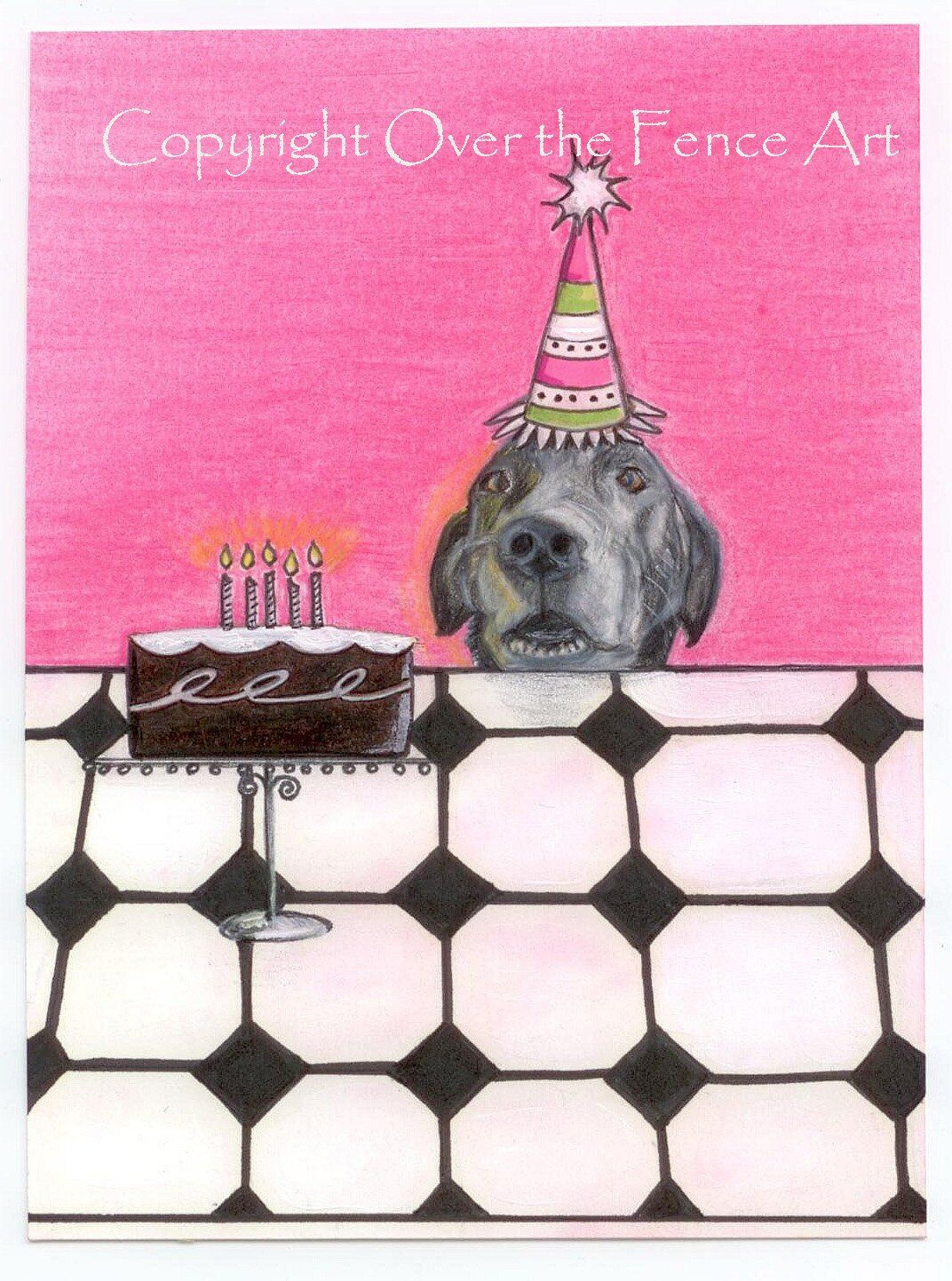 Dog Art Birthday Card Black Labrador Fine Handmade Pet Portrait Funny CardDog Waits For Cake By Overthefenceart On Etsy