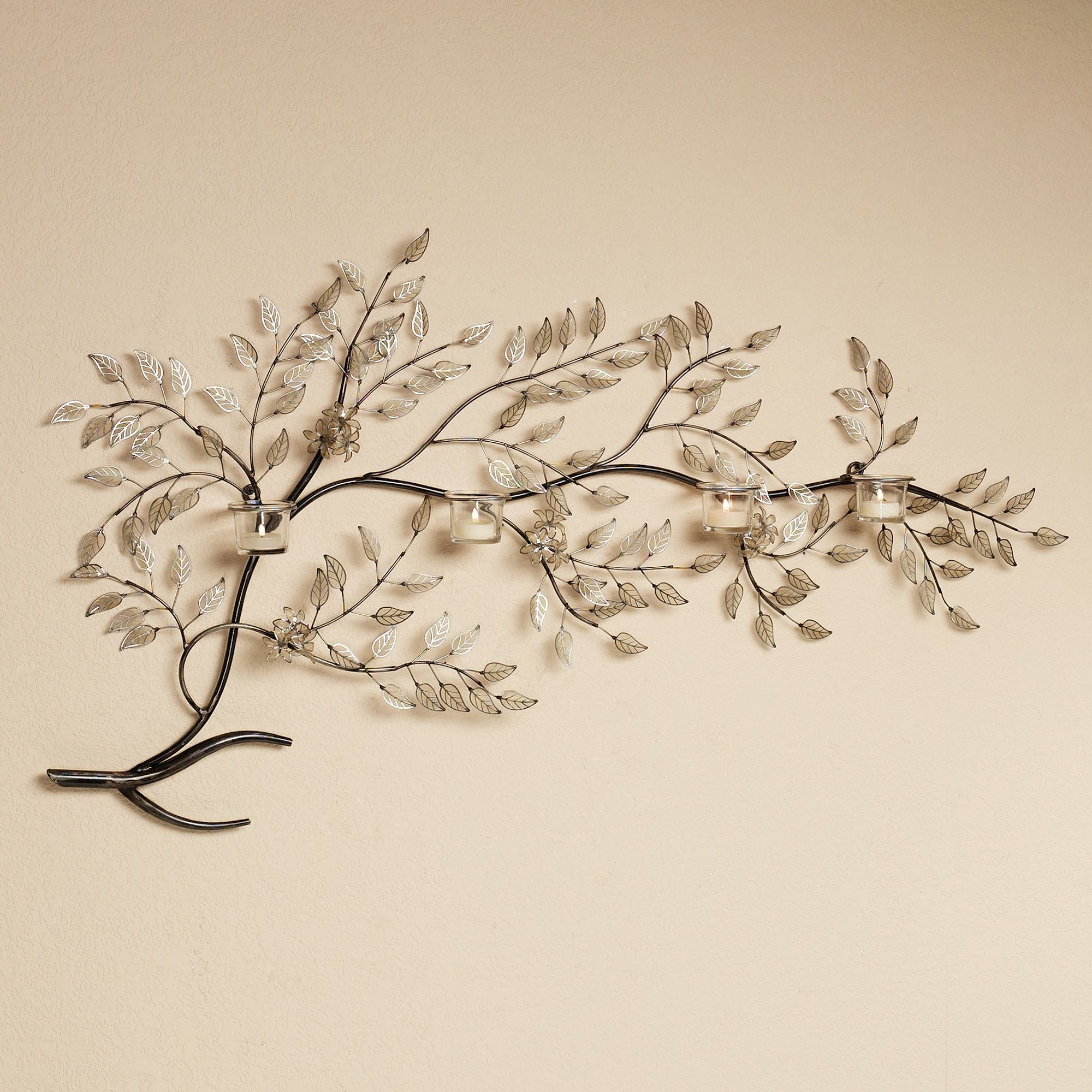 Metal Branch Wall Decor Moment Of Peace Votive Candelabra Wall Art  Candelabra Peace And