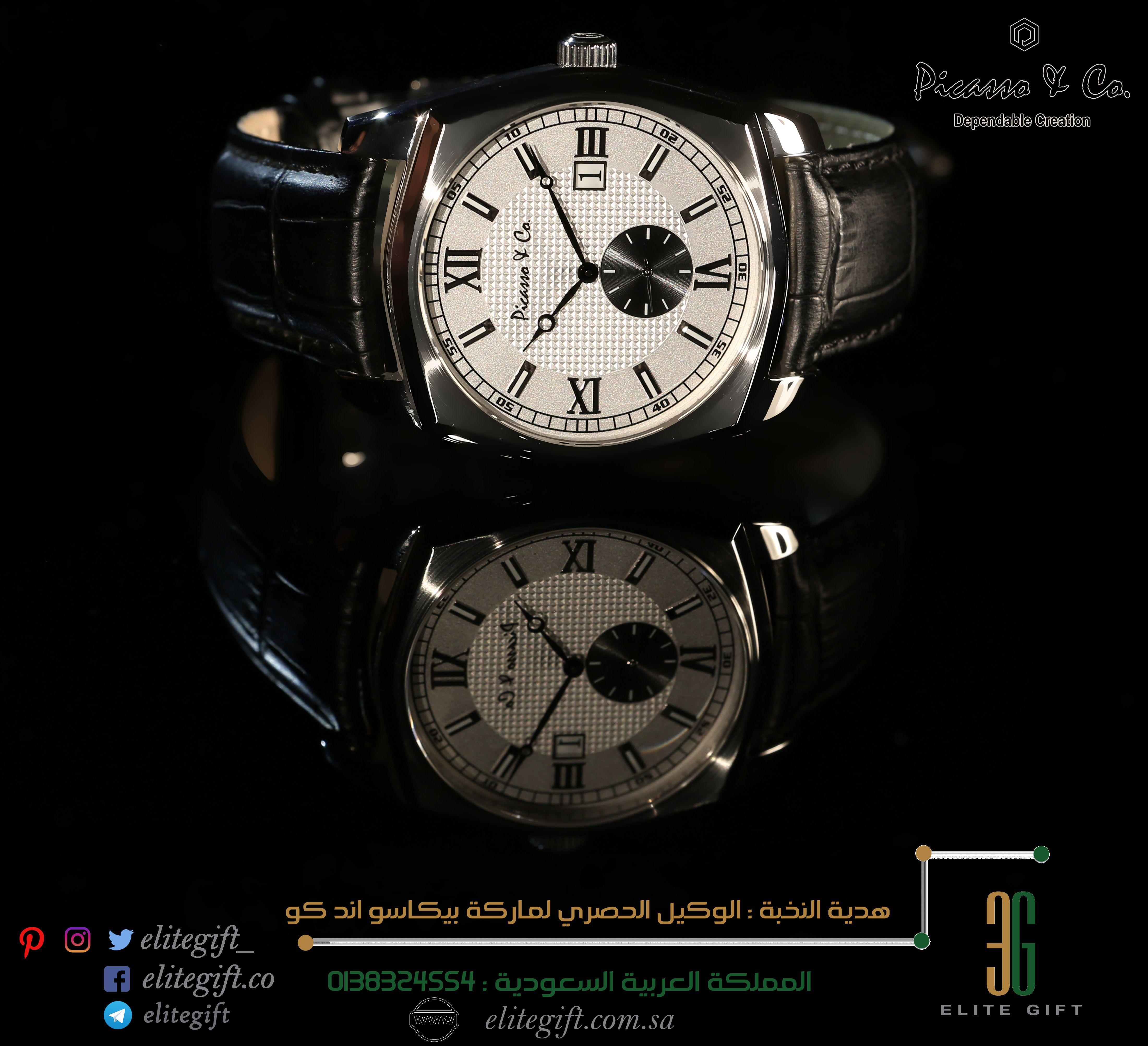 ساعات بيكاسو اند كو دليلك نحو التميز ساعة تنطق بالاناقة بجلدة سوداء ومينا بلون ابيض بالاضافة الى كلاسيكية الشكل ومتانته هدية Gifts Accessories Jaeger Watch