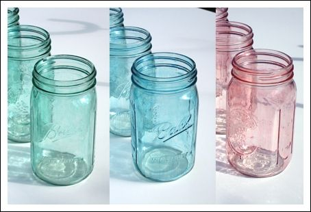 A mixture of Mod Podge, a little water, some food coloring, and 20 minutes  in an oven and POOF, mason jars  | Pinteres