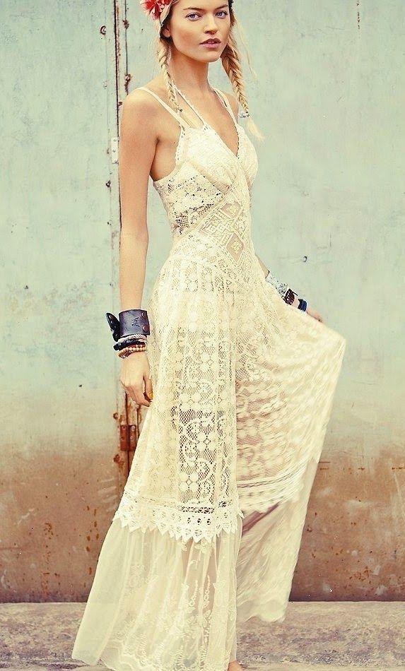 ac687b111013d Free People White Boho Lace Dress | Bo ShiK✿ | Fashion, Dresses ...