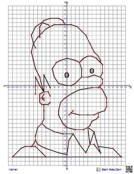Homer+Simpson+Coordinate+Graphing+Picture 4+quadrant+graphing+ ...