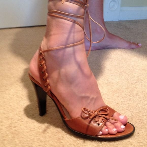 Nine West Shoes - Camel colored wrap ankle heeled sandals