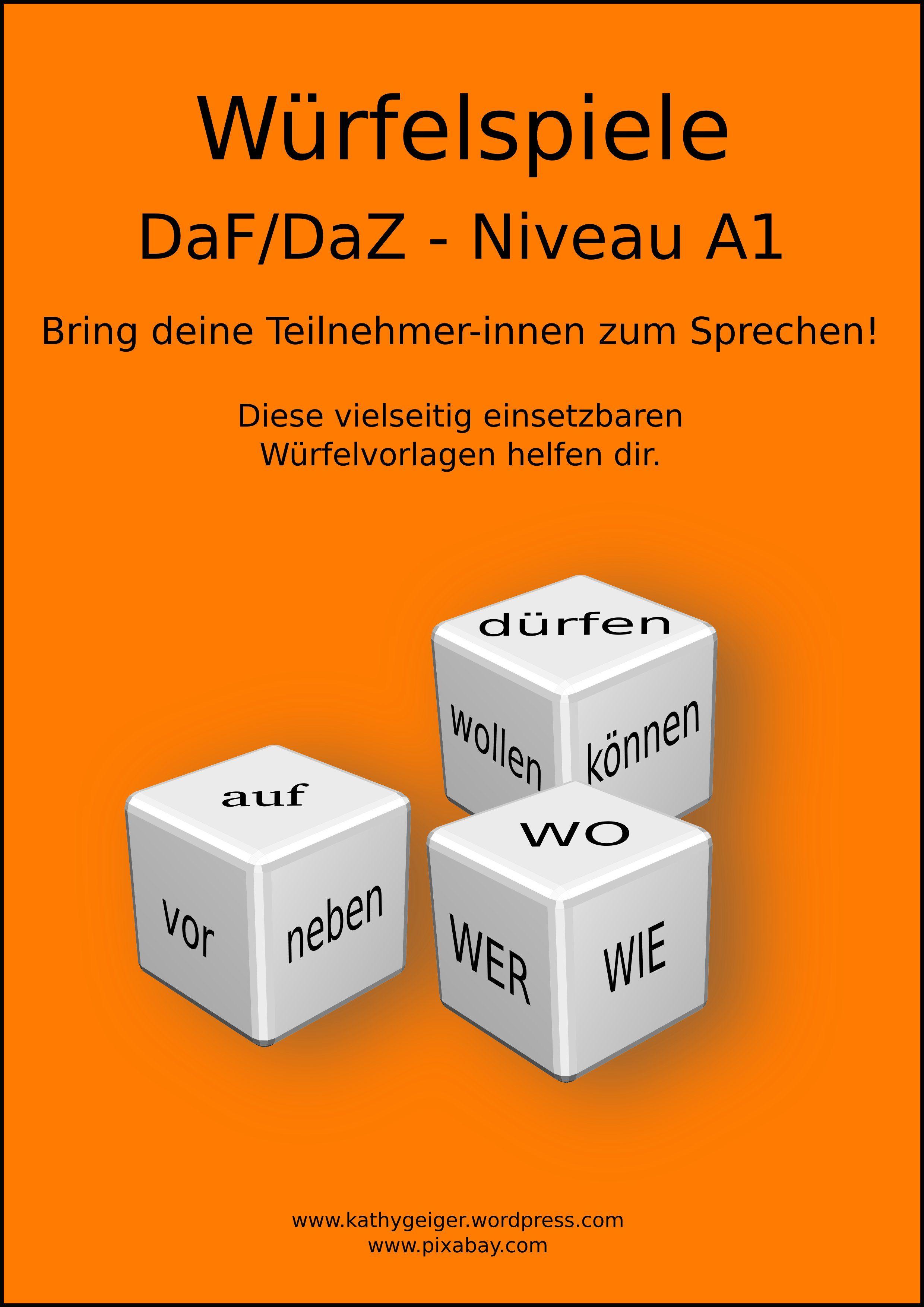 Würfel für DaF-DaZ, Niveau A1-A2. Training für Freies Sprechen und ...