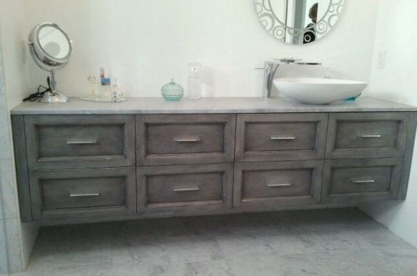 Floating Wall To Wall Built In Bathroom Vanity In A Washed Grey Finish Swarovski Crystal