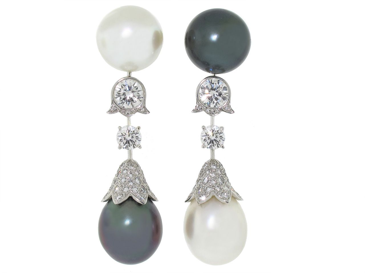 Cartier South Sea and Tahitian Pearl and Diamond Earrings from BELADORA