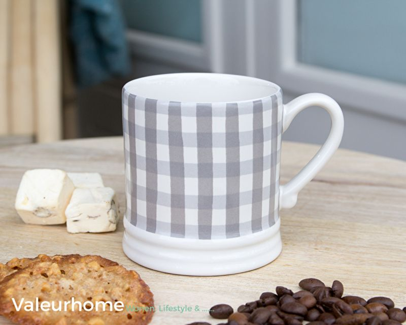 Bastion Mug Small Titane Check Watercolour | Bastion Collections | Valeurhome