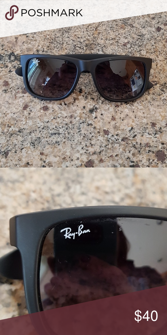 723f1761d5 RAY BAN Justin style sunglasses Authentic black ray bans plastic frame.  Lightly worn. Model RB4165. Comes with authentic leather case Ray-Ban  Accessories ...