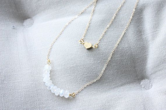 Gold heart and moonstone double layered necklace