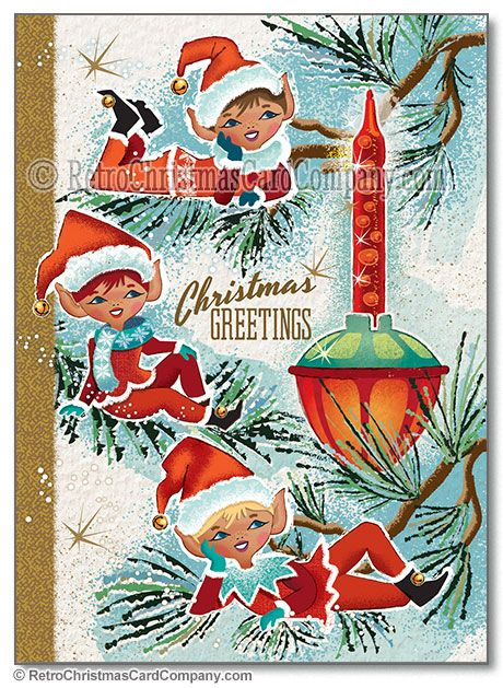 bubble light elves christmas cards package of 8 12 from the retro christmas card company retro christmas cards vintage style christmas ca - Elf Christmas Card