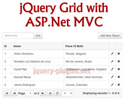 jQuery Grid With ASP Net MVC #AspNet #grid #datagrid #bootstrap