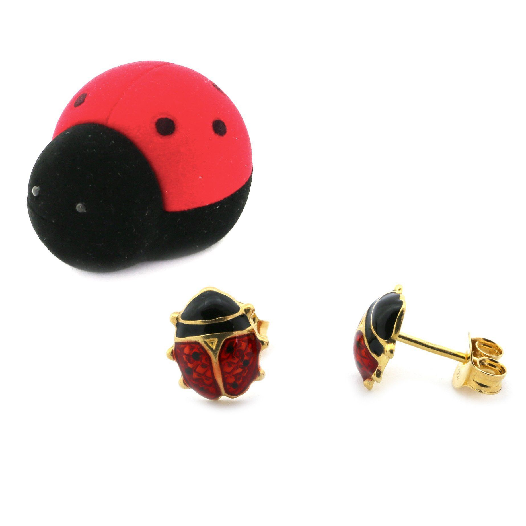 For Babies Kids Gold Plated Sterling Silver Red Enamel Ladybug Earrings With Matching Box