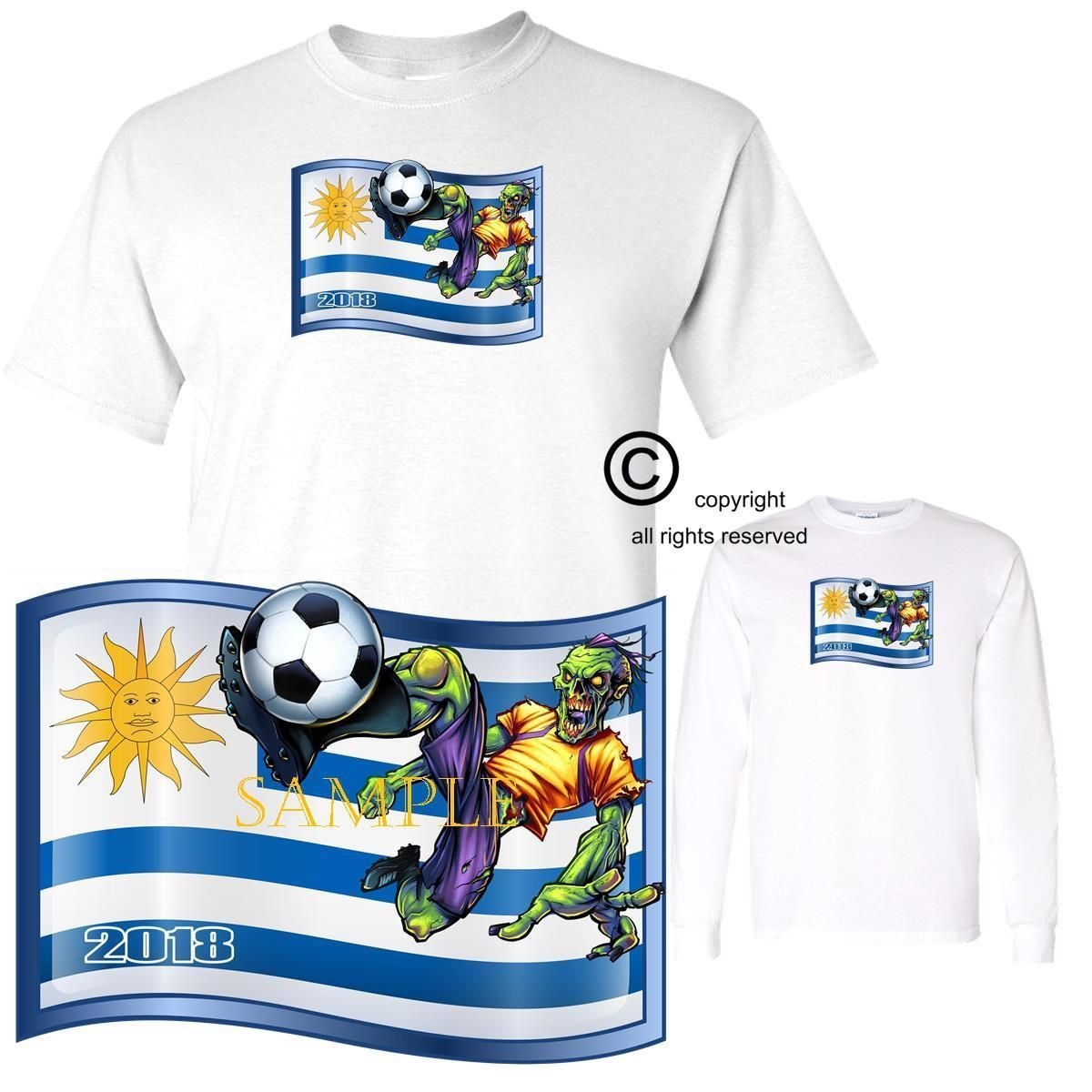 314afac24 Soccer 2018 World Cup Zombie Player Team Uruguay Short   Long Sleeve T Shirt  Discount Price 21.95 Free Shipping Buy it Now