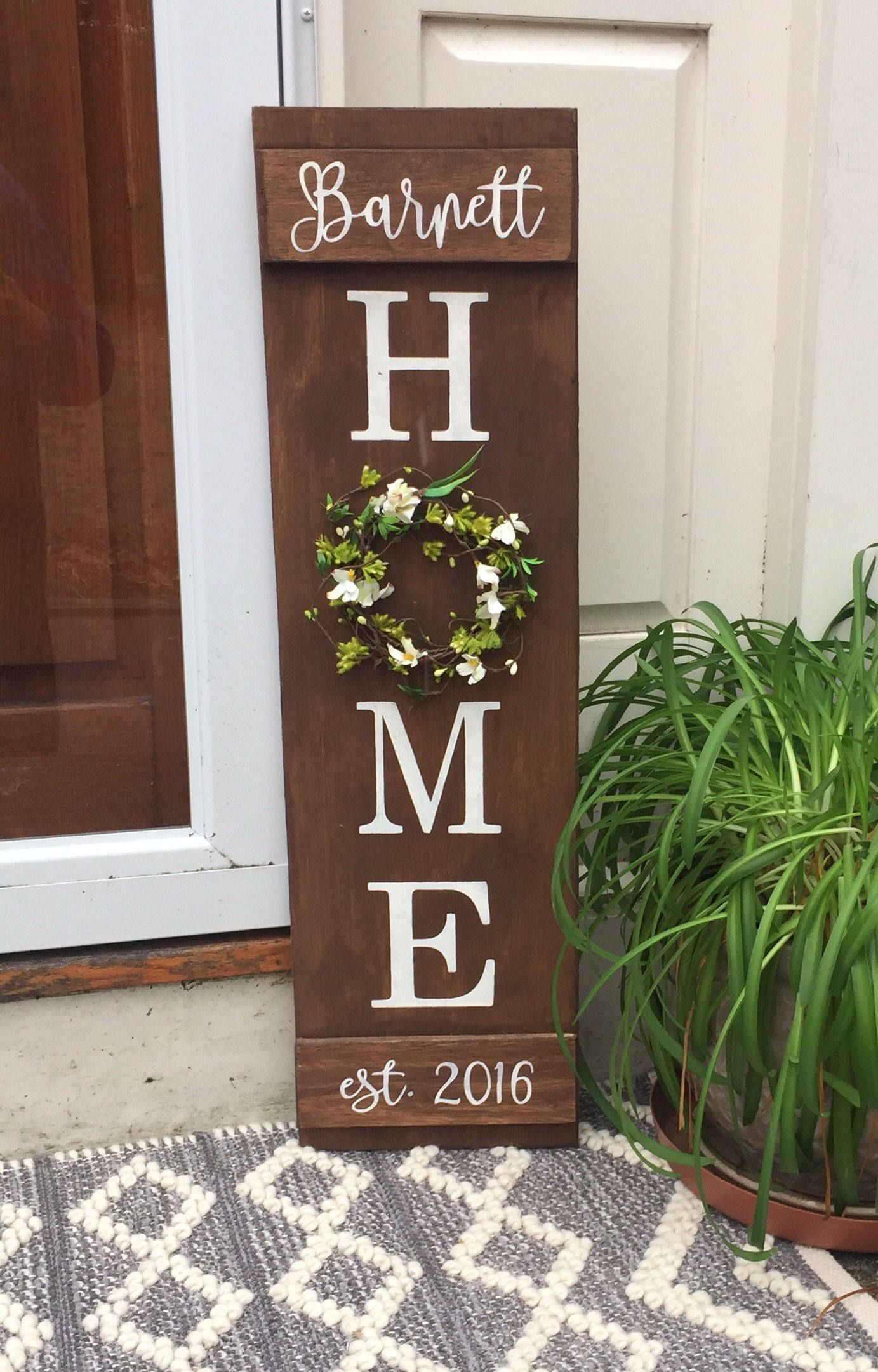 Personalized Sign Home Sign Custom Name Sign Established Etsy House Closing Gift Wooden Signs Diy Front Porch Decorating
