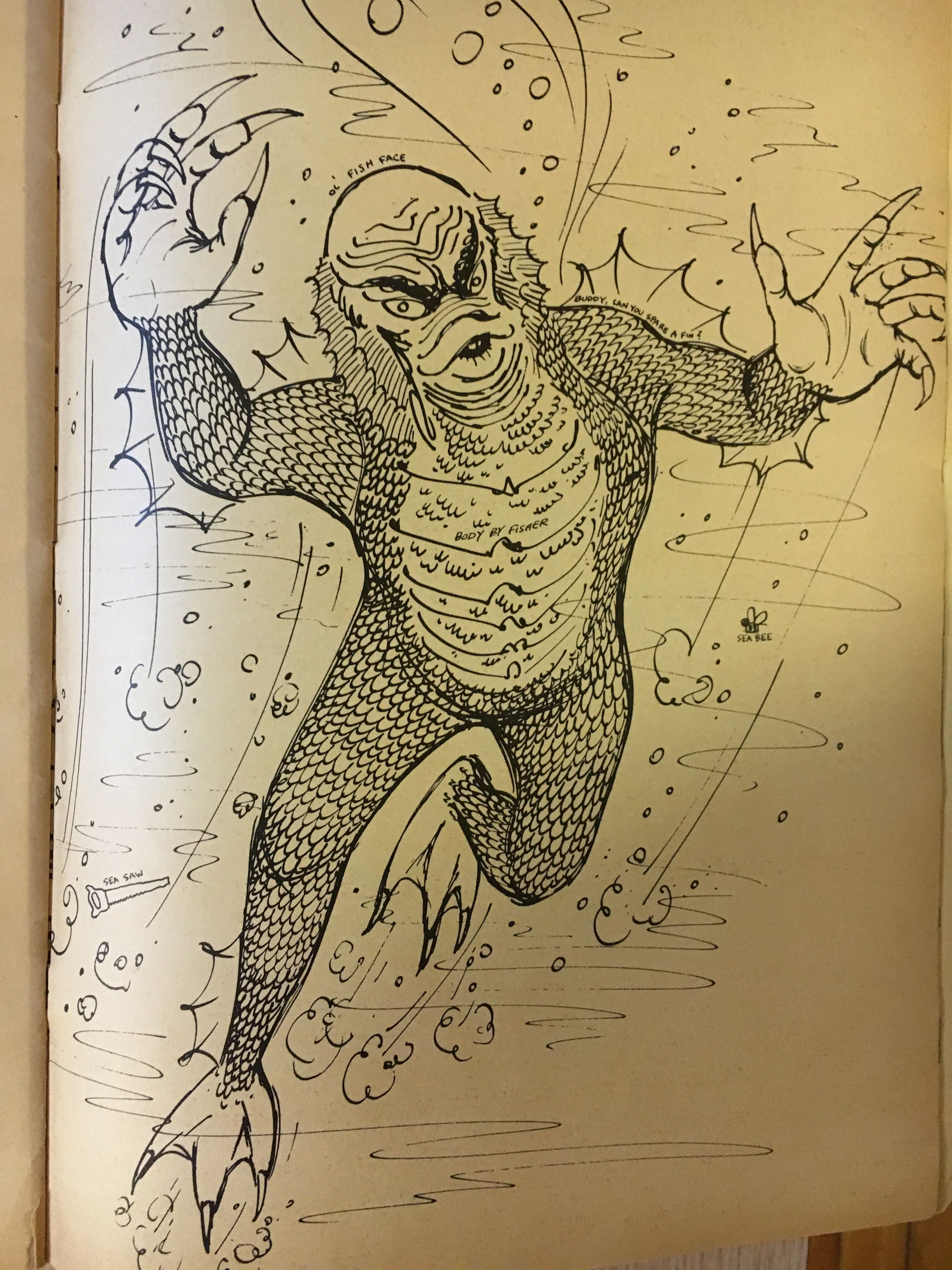 Creature From The Black Lagoon Coloring Page Cool Ghoul Coloring Book 1964 Vintage Coloring Books Colored Pencil Drawing Coloring Books
