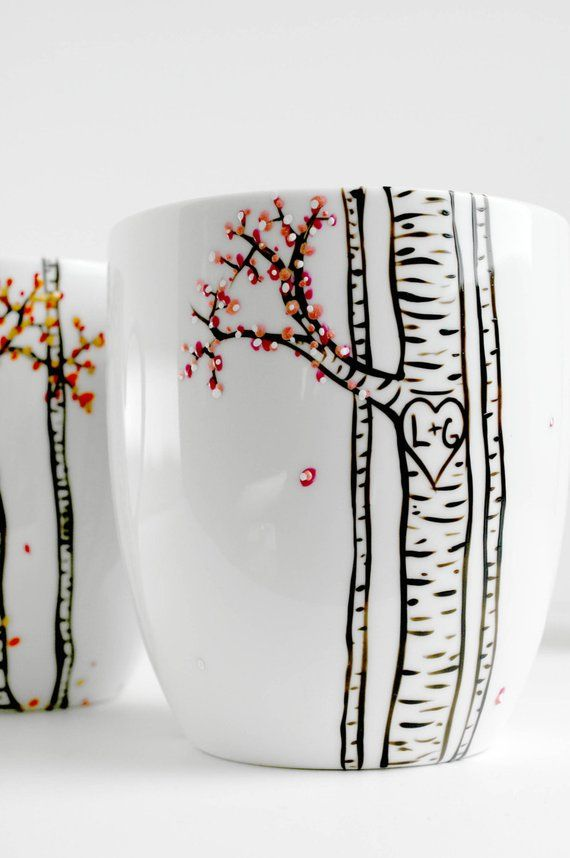 Four Seasons Birch Tree Collection - 4 Large Personalized Mugs depicting The Four Seasons, Wedding Gift, Personalized Wedding Gifts #personalizedwedding