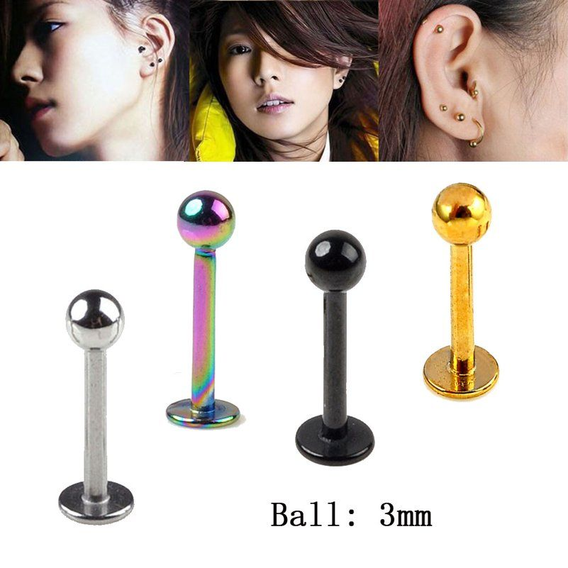 Set Titan Lip Piercing Jewelry Labret Stud 1,2mm With 5 Colours Balls IN 3mm