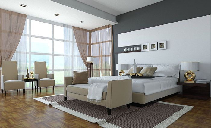 grote moderne slaapkamer met zetel en meubels - axenerts | Pinterest ...