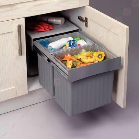 Poubelle sous vier sortie totale lmpou6291gr poubelles pour meuble bas accessoires de - Poubelles coulissantes sous evier ...