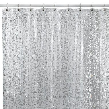 Pebbles Shower Curtain In Clear Silver Shower Curtain Shower