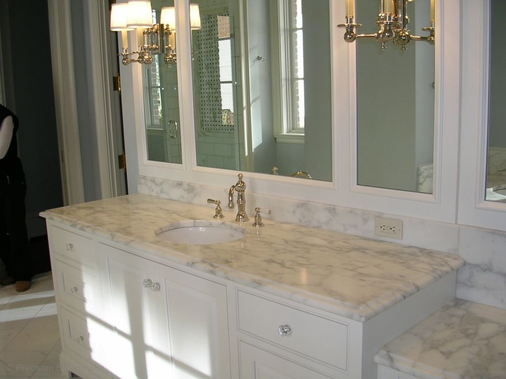 Bathrooms Polished Nickel Double Sconces Framed Mirrors Drop Down Vanity White Cabinet Marble Countertop Fantastic Ensuite With Creamy White