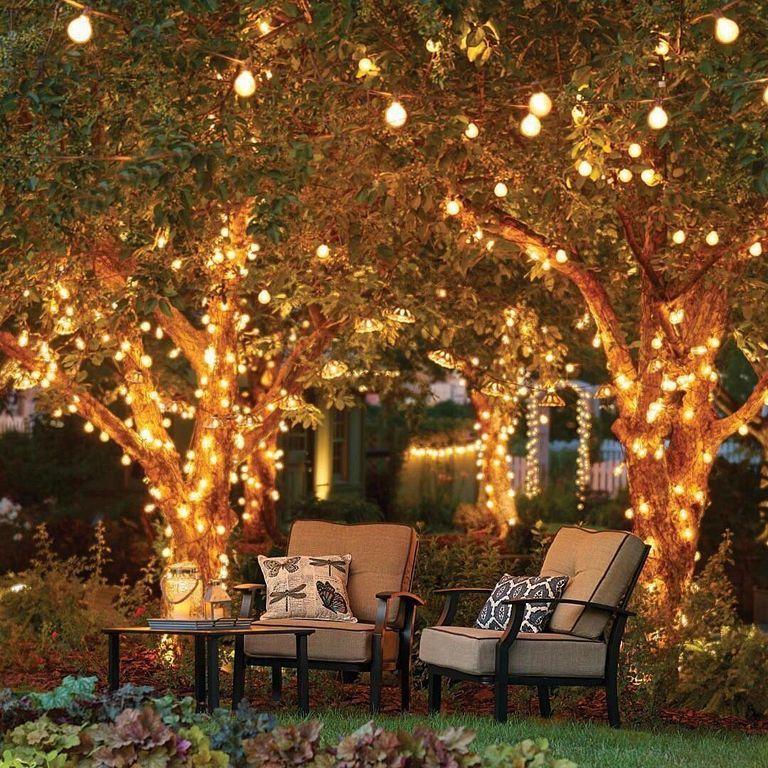 33 Stunning Outdoor Deck Lighting Ideas In Summer Night Outdoor Tree Lighting Backyard Lighting Backyard Decor