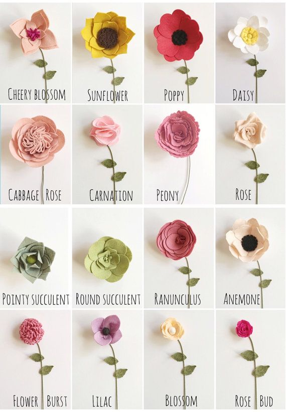 Build Your Own Custom Felt Flower Bouquet Felt Flowers