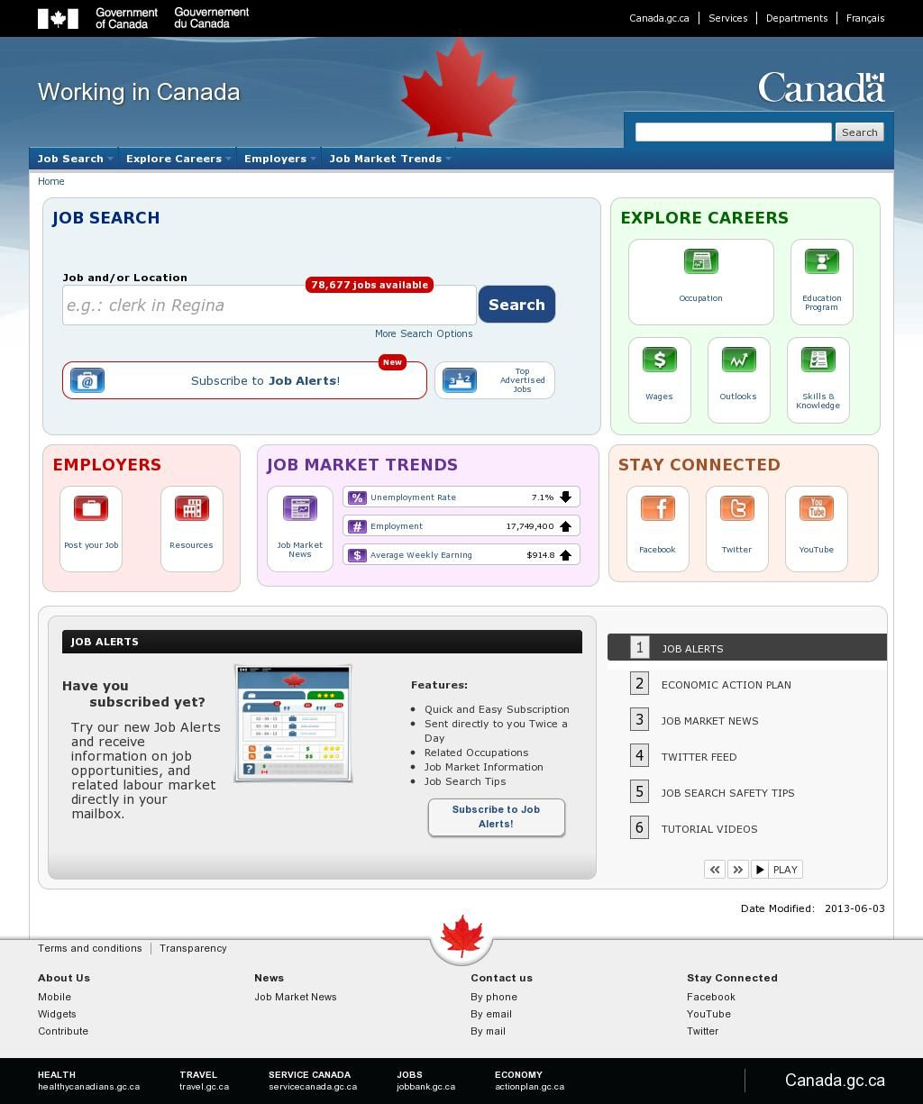 The website 'http//www.workingincanada.gc.ca/homeeng.do