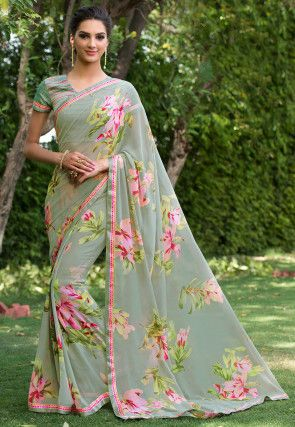 Indian Exclusive Floral Print Georgette Saree with Banglory Silk Blouse for Wedding and Partywear Sari Express Delivery