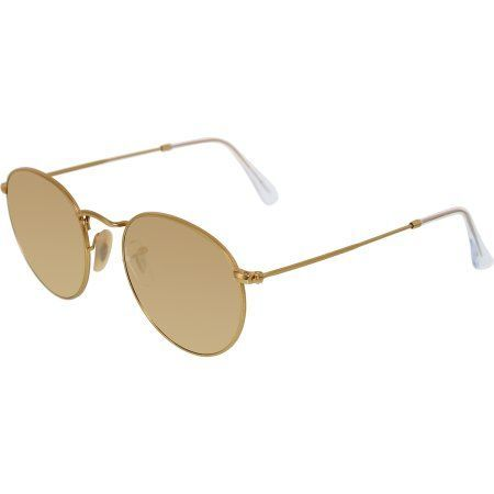 Ray-Ban Round Flash Lenses Gold Sunglasses, RB3447-112 Z2-50, Women s 10836c43b6