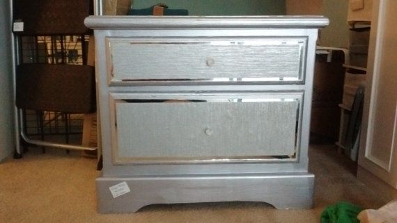 Handmade Silver Mirrored Bedside Table