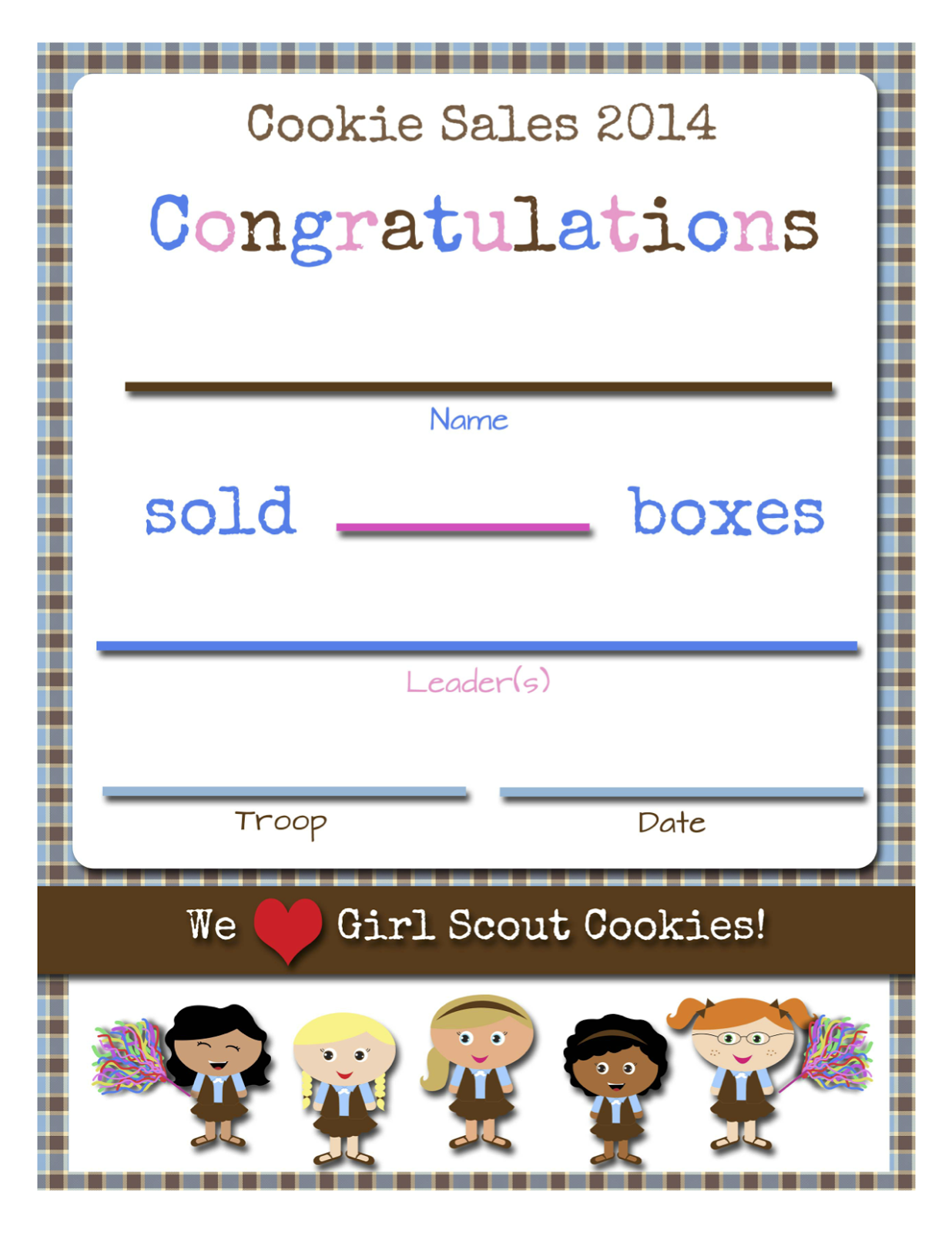 Girl Scouts Free Printable Cookie Certificates With