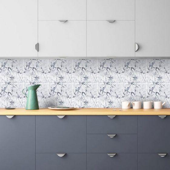 Les tuiles de marbre blanc classique – sticker – escaliers – tuile – amovible cuisine salle de bain sticker – PACK de 24