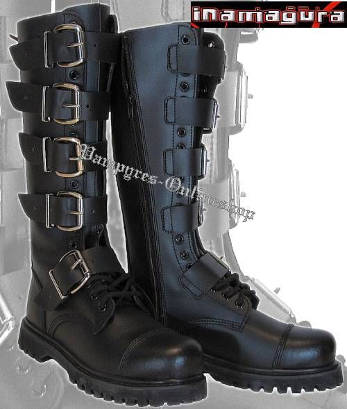 ba58184f3b5f7 Inamagura / TNT 20-Loch 5-Schnallen Stiefel Schwarz Rangers Boots 89 ...