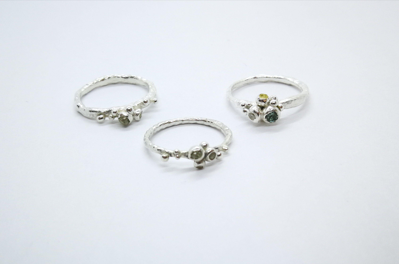Natural raw diamond ring, wedding gift, silver ring viking